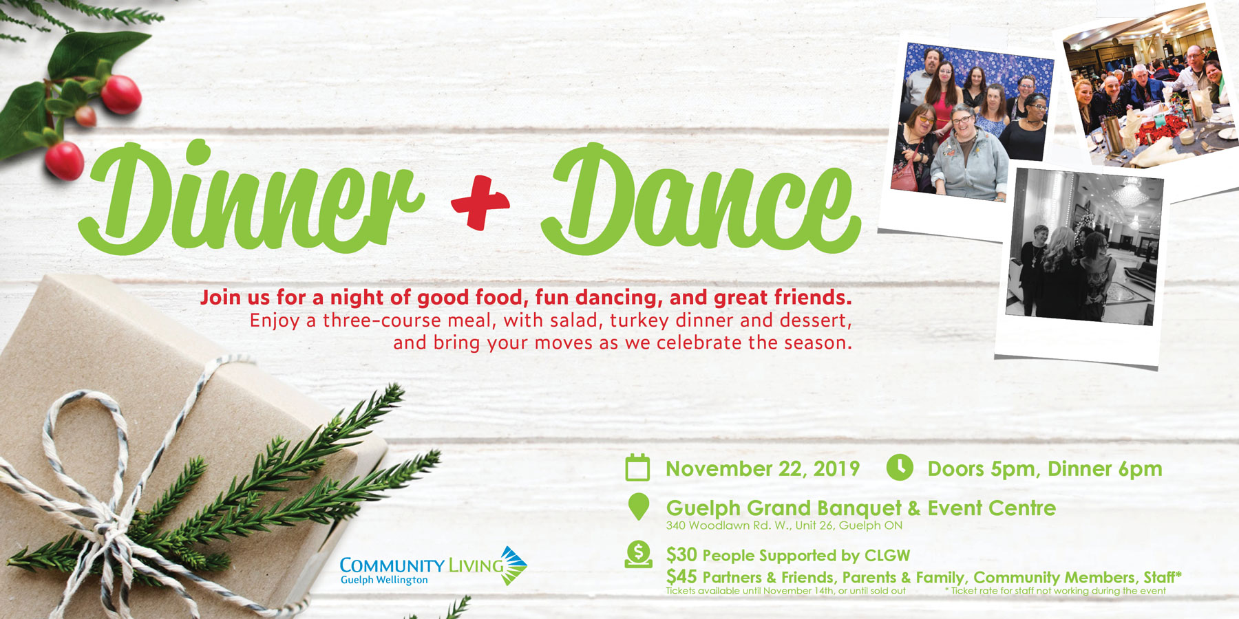 dinner dance for clgw, holiday season, seasons greetings, holiday party, clgw, guelph grand banquet event centre, adults with disabilities