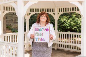 we've got this, photo series, one year later, covid-19, community living guelph wellington, elle chic photography, guelph ontario, disability, frontline heroes, mary ellen, dish cloths, knitting
