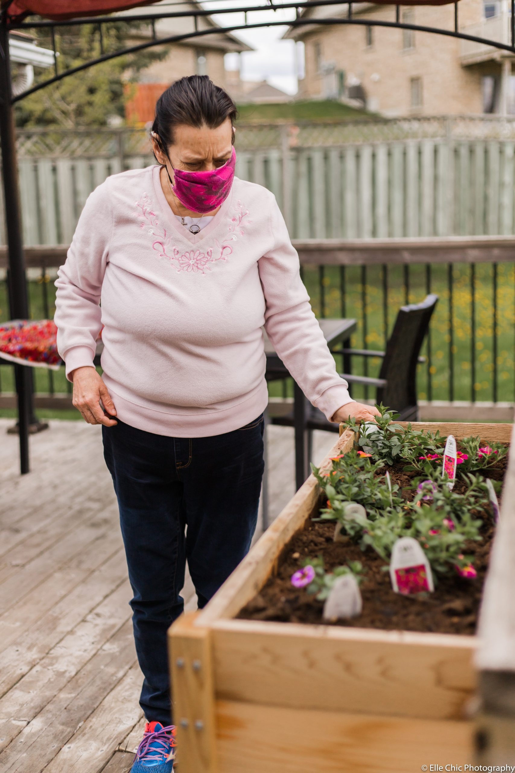 we've got this, photo series, one year later, covid-19, community living guelph wellington, elle chic photography, guelph ontario, disability, frontline heroes, terri-lynne, rug hooking, gardening