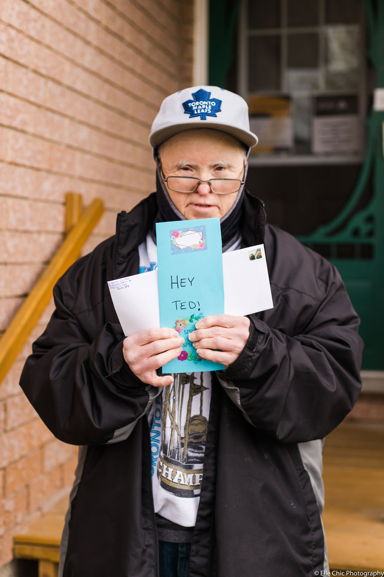 we've got this, photo series, one year later, covid-19, community living guelph wellington, elle chic photography, guelph ontario, disability, frontline heroes, glenn, card, mail, toronto maple leafs, blue jays